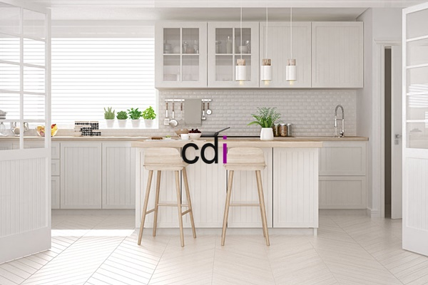 Scandinavian classic kitchen with wooden and white details, minimalistic interior design